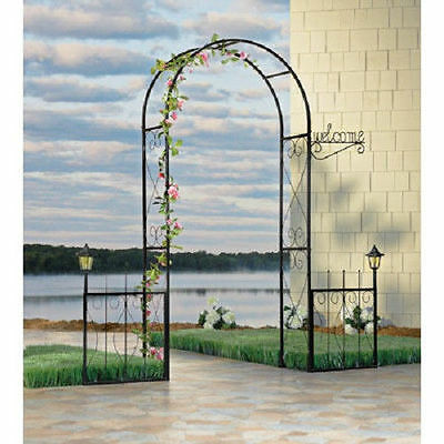 Solar Lighted Black Iron Welcome Arbor Garden ...