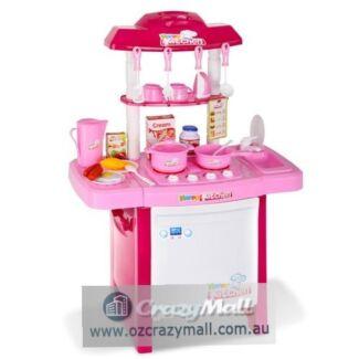 25pcs Kitchen Play Set with Lights Sound Pink