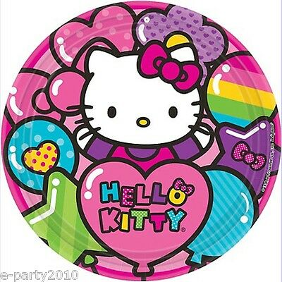 HELLO KITTY Rainbow LARGE PAPER PLATES (8) ~ Birthday Party Supplies Luncheon (Rainbow Paper Plates)