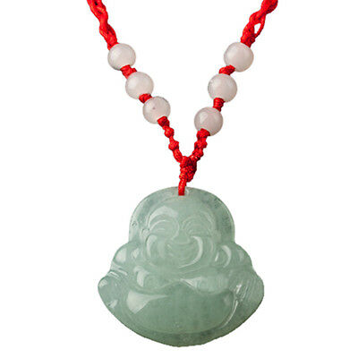 - Red String Green Faux Jade Buddha Pendant Jewelry Necklace TS