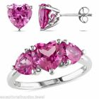 Heart Sapphire Sterling Silver Diamond Engagement Rings