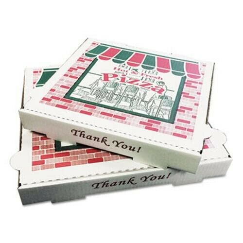 """12"""" Pizza Boxes, Heavy Duty Fiberboard, White, 50 Boxes (BOX PZCORE12)"""