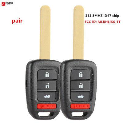 Pair New Uncut Remote Car Key Fob for 2013-2016 Honda Accord Civic - MLBHLIK6-1T