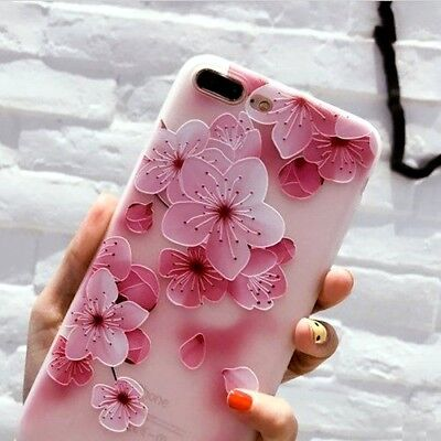For iPhone 7+ Plus / 8+ Plus - TPU RUBBER SKIN CASE COVER PINK CHERRY  BLOSSOMS