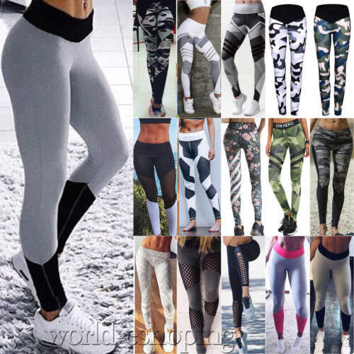 Leggings - Womens Yoga Fitness Leggings Running Athletic Sports Stretch Long Pants Trousers