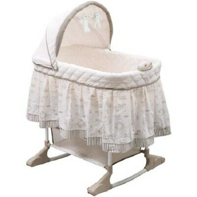 Baby Newborn Rocking Bassinet Crib Cradle Bed Rolling Nursery Furniture Canopy