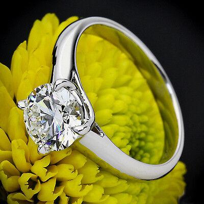 1/2 CT Diamond Engagement Ring Round Cut 14K White Gold D/VS Enhanced