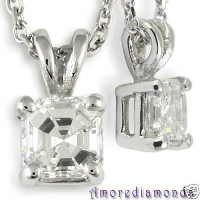 0.8 CT I VS2 ASSCHER CUT DIAMOND SOLITAIRE PENDANT 18k WHITE GOLD 16 INCH CHAIN