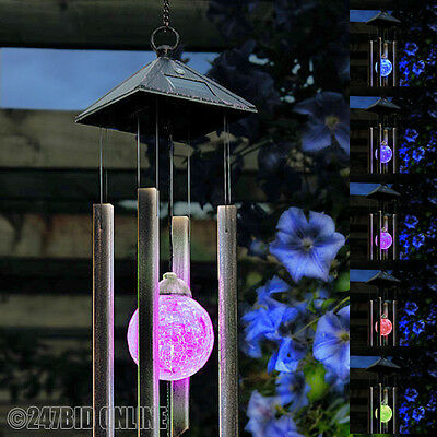 WIND CHIMES WITH SOLAR POWERED COLOUR CHANGING LED LIGHT OUTDOOR GARDEN ORNAMENT
