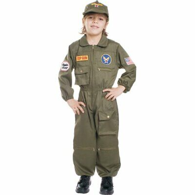 AIR FORCE PILOT TOP GUN FIGHTER CHILD HALLOWEEN COSTUME BOYS SIZE SMALL 4-6  - Air Force Halloween Costume