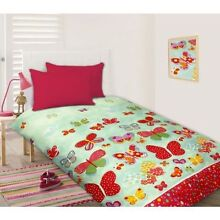 Happy Kids Butterfly In Spring Double Quilt Cover Set - Green Camden South Camden Area Preview