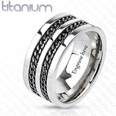 Personalized Engraved Titanium Double Cable Men's Promise Ring Wedding Band](Personalized Wedding Rings)