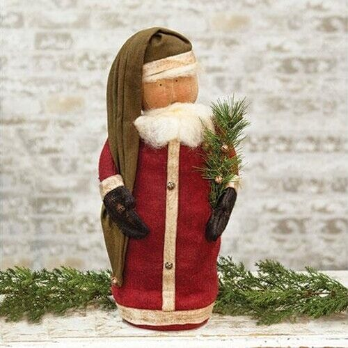 New Primitive Folk Art Rustic SANTA TREE DOLL Christmas Figure 19""