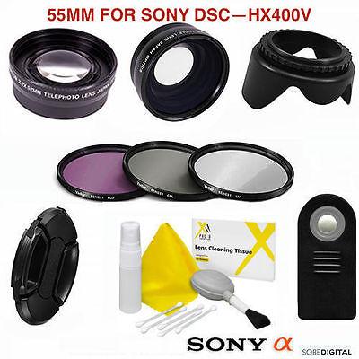 FISHEYE LENS + TELEPHOTO ZOOM LENS + REMOTE  FOR Sony Cyber-shot DSC-HX400V