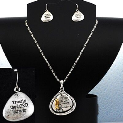 Isaiah 26:4 Trust in the Lord Religious Inspirational Necklace Earrings #364-B comprar usado  Enviando para Brazil