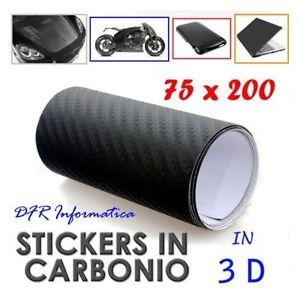 PELLICOLA-CARBONIO-3D-NERA-75-X-200-ADESIVA-TIPO-3M-TUNING-AUTO-MOTO-ANTIGRAFFIO
