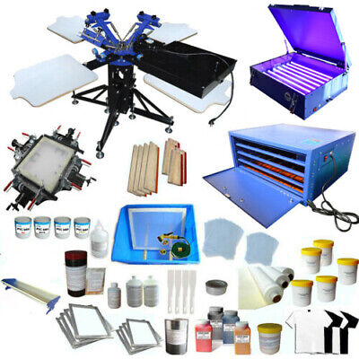 3 Color 4 Station 1 Dryer Silk Screen Printing Machine Screen Printing Press Kit