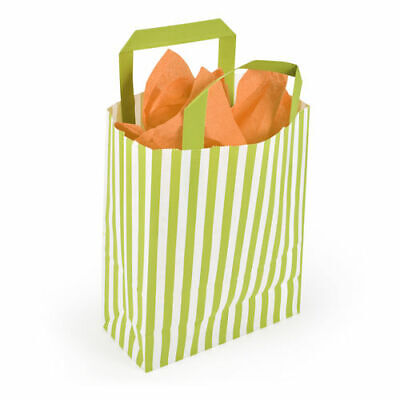 180 x 80 x 230mm Recyclable Lime Striped Paper Carrier Bag - Pack of 50