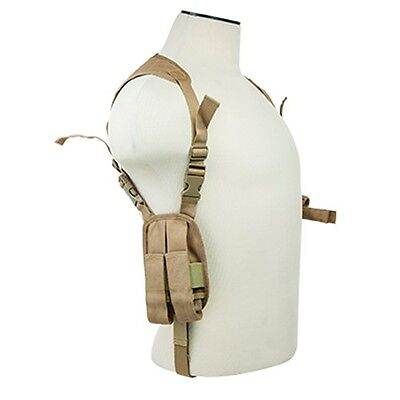 NcStar Vism Ambidextrous Shoulder Holster Horizontal Pistol& Magazine Holder TAN