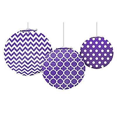 PURPLE QUATREFOIL POLKA DOT CHEVRON PAPER LANTERNS (3) ~ Birthday Party - Purple Polka Dot Party Supplies