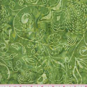 Anthology Fabrics Bali Batik 574 Green on Green Leaf Vines by The Yard ...