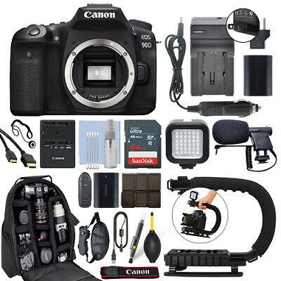 Canon EOS 90D 32.5MP Digital SLR Camera Body + 64GB Pro Video Kit