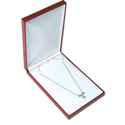 24 Classic Red Leatherette Necklace Pendant Jewelry Gift Boxes