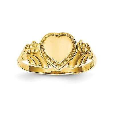 14k Solid Yellow Gold Polished Heart Baby Ring Size 3