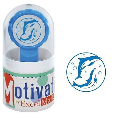 New Excelmark Motivations Pre Inked Teacher Stamp Dolphins Blue Ink