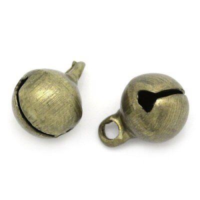30 x Antique Bronze Tibetan 6mm Christmas Jingle Bell Charm/Pendant ZX07215