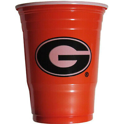 GEORGIA BULLDOGS RED PLASTIC GAMEDAY CUPS 18OZ 18CT SOLO TAILGATE PARTY SUPPLIES - Georgia Bulldog Party Supplies