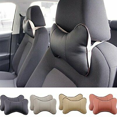 2 Piece Car Seat Leather Headrest Neck Pillow Dog Bone Shape Rest Cushion