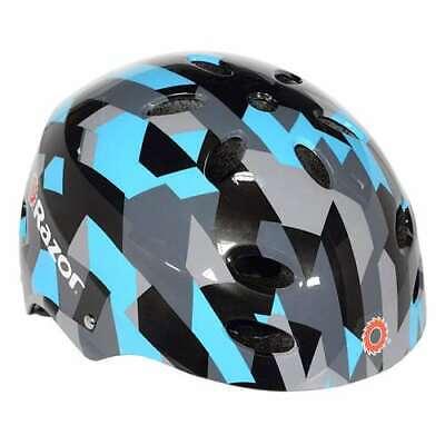 Razor V17 Youth Skateboard Scooter Adjustable Helmet, Geo Black/Blue (Open Box)