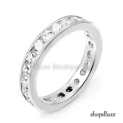 WOMEN'S ROUND CUT AAA CZ STERLING SILVER ETERNITY WEDDING FASHION RING SIZE 4-12