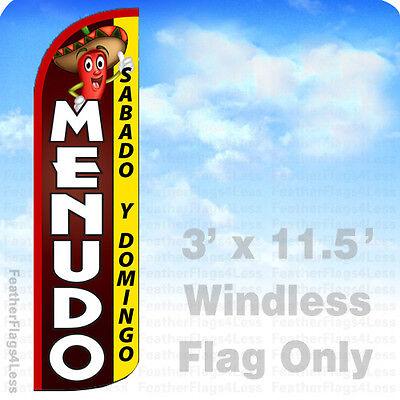 Menudo - Windless Swooper Flag Feather Banner Sabado Y Domingo Sign 3x11.5 - Q