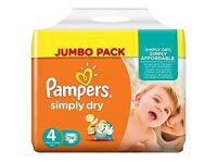 Brand new: Pampers Simply Dry Nappies, Size 4, 148 pk. Brand new & unopened in 2 bags of 74