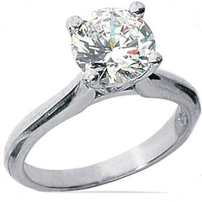 1.36 ct Round Diamond Platinum Solitaire Ring w/ GIA certificate H VS2 excellent