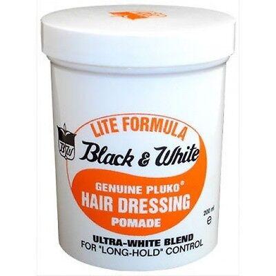 Black & White Genuine Pluko Lite Formula Hair Dressing Pomade conditioning 7 oz