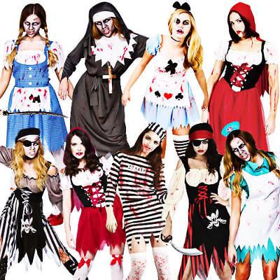 Zombie + Tights Ladies Fancy Dress Halloween Living Dead Horror Womens (Living Dead Kostüm)