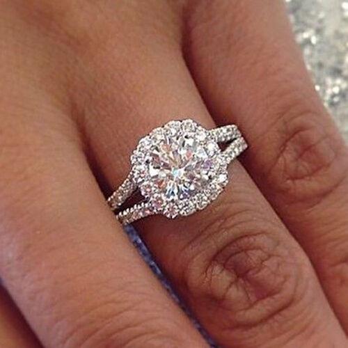 18K WG 2.13 Ct Halo Round Cut Diamond Split Shank Engagement Ring F,VS2 GIA