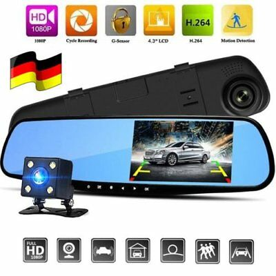 "4.3"" FHD 1080P Dual Lens Auto Rearview Camera Video Dashcam Recorder Kamera DVR"
