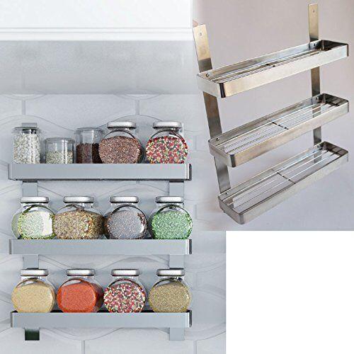 Stainless Steel Spice Rack Kitchen Shelf Organizer Wall Mount 3 ...
