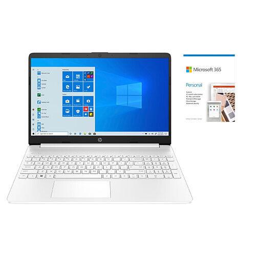 "HP 15 Series 15"" Laptop Intel Core i3 4GB RAM 256GB SSD White + Microsoft 365"