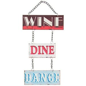 Wine dine dance metal sign plaque vintage shabby wall for Wine and dine wall art
