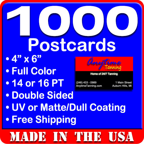Купить 1000 Custom Full Color 4x6 Postcards w/UV Glossy - Real Printing + Free Shipping