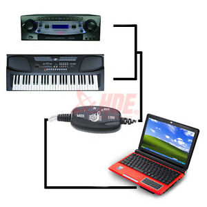 New USB IN-OUT MIDI Interface Cable Converter PC to Music Keyboard Adapter Cord