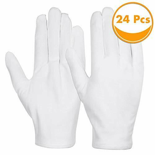 Cotton Gloves, Anezus 12 Pairs White Cotton Gloves Cloth Serving Gloves for Ecze