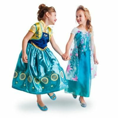 NWT Disney Store Frozen Fever 2 in 1 Elsa and Anna Princess Costume Girls Dress  - Elsa In Frozen Costume