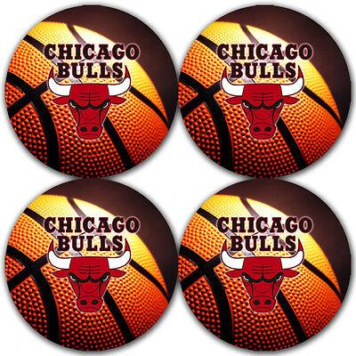 Chicago Bulls Basketball Rubber Round Coaster set  / RNDRBRC