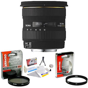 Sigma 10-20mm f/4-5.6 EX DC HSM Lens + UV & CPL Filters & More for Nikon SLR